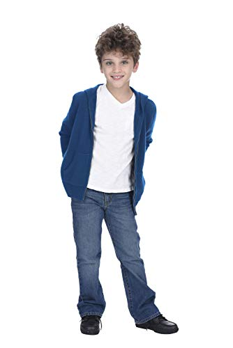 - State Cashmere Kids Unisex Wool Cashmere Full-Zip Hoodie Sweater Prussian Blue