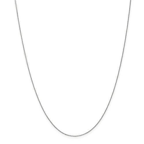 White Gold Round Charm - 14K Yellow or White Gold .50mm Wide Shiny Round Cable Chain Chain Necklace for Pendants and Charms with Lobster-Claw Clasp (18