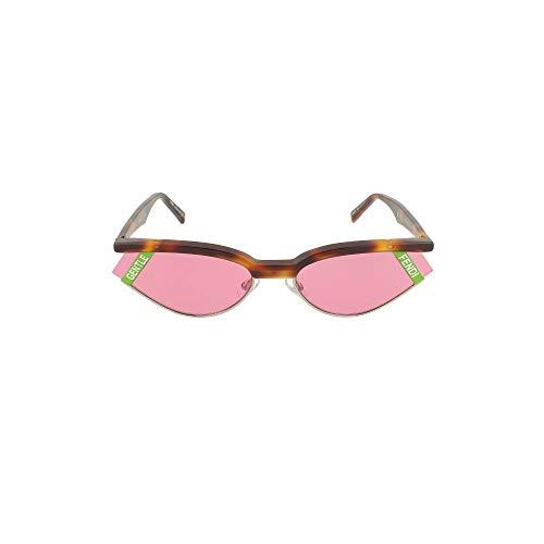 Fendi GENTLE Fendi No. 1 FF 0369 086 Havana Plastic Cat Eye Sunglasses Pink Lens