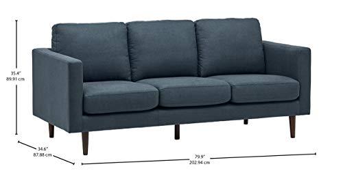 Rivet Revolve Modern Upholstered Sofa with Tapered Legs, 79.9