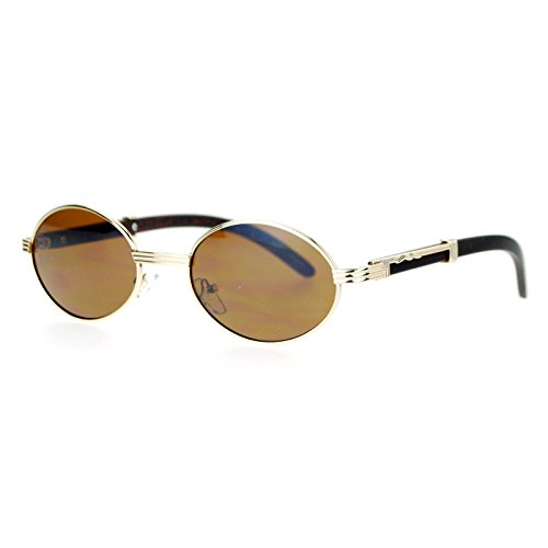 SA106 Retro Art Nouveau Vintage Style Small Oval Metal Frame Sunglasses Gold - 1920s Sunglasses Style