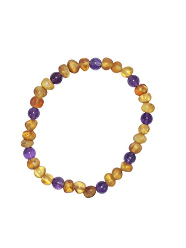 Baltic Amber and Purple Amethyst Adult Bracelet Made by UMAI - Pain Relief from Carpel Tunnel - Made of Certified Baltic Amber - Anti-inflammatory (Cognac Purple Amethyst)