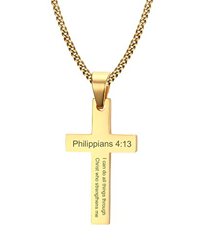 VNOX Gold Plated Stainless Steel Philippians 4:13 Bible Verse Cross Pendant Necklace for Men Women,Free Chain 24