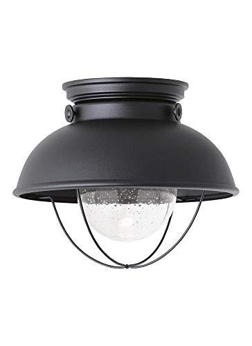 - Sea Gull Lighting 886993S-12 Sebring LED Outdoor Ceiling Flush Mount Hanging Modern Light Fixture, Black Finish