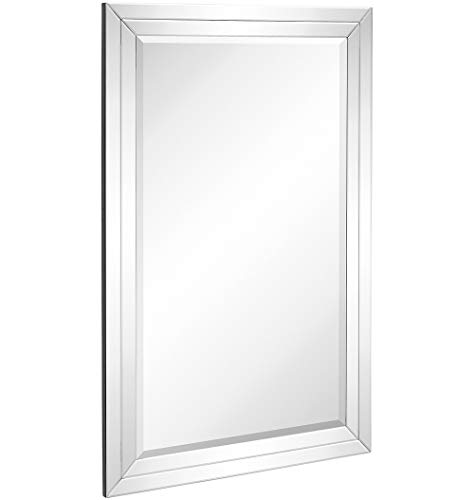 Hamilton Hills Large Flat Framed Wall Mirror with Double Mirror Edge Beveled Mirror Frame | Vanity, Bedroom, or Bathroom | Mirrored Rectangle Hangs Horizontal or Vertical (24