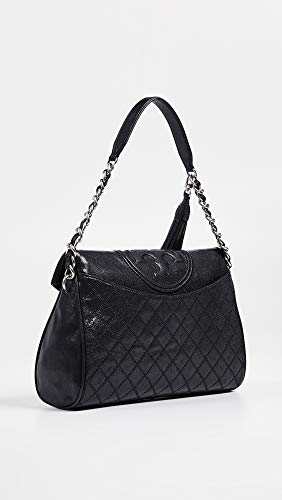 Leather Fleming Tory Women's Hobo Burch Fold Black Distressed Over qIFfHw