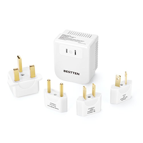 BESTTEN 1875W Voltage Converter Transformer and Universal Travel Adapter Plug Kit for UK/AU/US/EU/Asia Step Down 220V to 110V, 5pc Pack, White