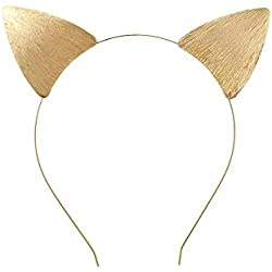 Rosemarie Collections Women's Gold Toned Cat Ears Textured Metal Headband