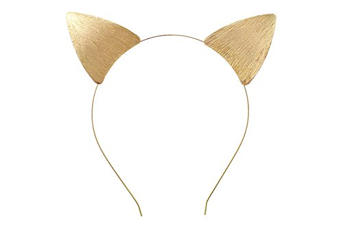 Rosemarie Collections Women's Fun Gold Toned Cat Ears Textured Metal Festival Wear Headband
