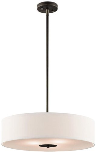 Kichler 42121OZ Semi Flush Drum Pendant Lighting, Bronze 3-Light (20
