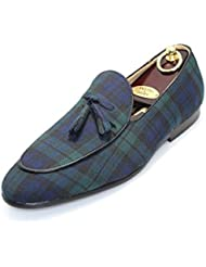 SMYTHE & DIGBY Mens Black Watch Tartan Plaid Belgian Loafers