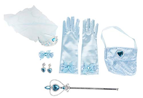 Princess Dress Up Toy - 8-Piece Snow Princess Pretend Play Costume Accessories for Kids, Blue, Great for a Christmas, Secret Santa Gift -