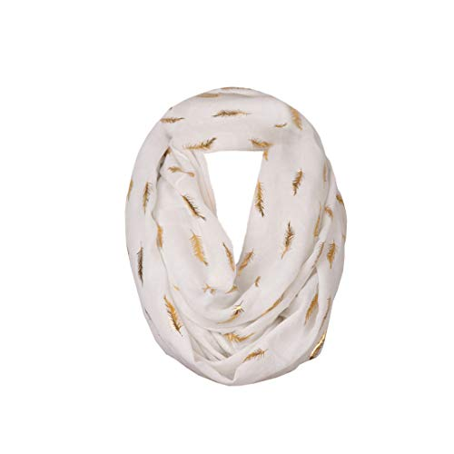Missshorthair LightWeight Infinity Scarfs for Women Print Gold Silver Foil Pattern (White Feather)