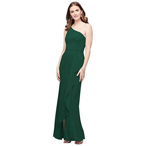 One-Shoulder Chiffon Bridesmaid Dress with Cascade Style F20011, Juniper, 12