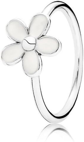 &de type Pandora Argent 925/1000–Émail blanc bague fleur ...