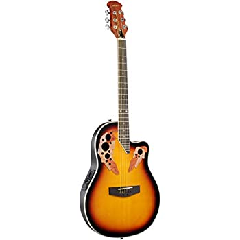 ADM Electric Cutaway Guitar Full Size Acoustic 41 Inch with 3-Band EQ, Mutil Hole Sunset, Round Back
