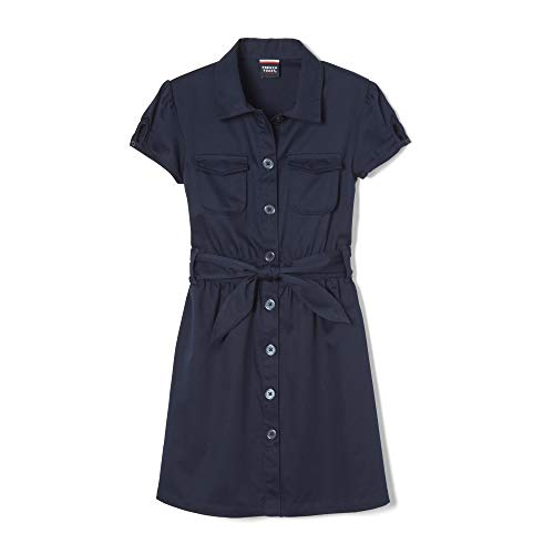(French Toast Little Girls' Twill Safari Shirtdress, Navy, 6 )