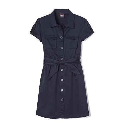 - French Toast Big Girls' Twill Safari Shirtdress, Navy, 10