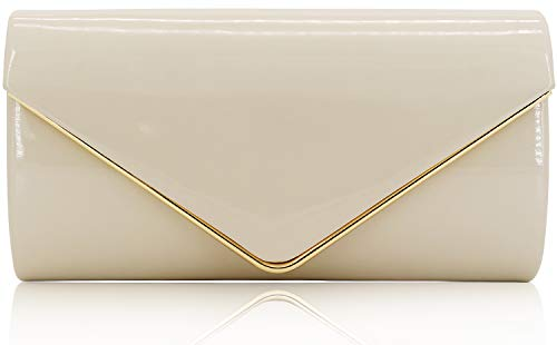 Bag White Patent - Dexmay Patent Leather Envelope Clutch Purse Shiny Candy Foldover Clutch Evening Bag for Women Ivory