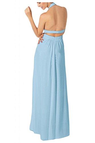 Toscana novia Chic al cuello con estampado de Gasa de noche por la noche de la moda de largo de dama de honor vestidos de bola Prom vestidos de fiesta Hell Himmel Blau