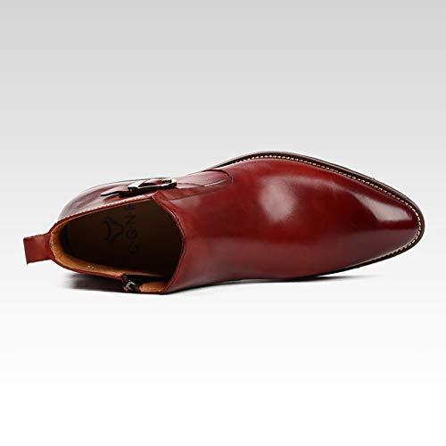 Rosso Stivaletto Vintage Chelsea Vera Booties Uomo Lavoro Nozze Formale Pelle Adulti WKNBEU Nero Red Ufficio Antiscivolo Commercio Stivali 0wHvFF