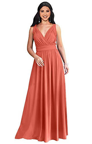 KOH KOH Womens Long Sleeveless Flowy Bridesmaids Cocktail Party Evening Formal Sexy Summer Wedding Guest Ball Prom Gown Gowns Maxi Dress Dresses, Coral Pink Peach M 8-10
