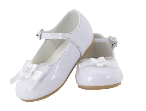 (Betty Patent Leather Flower Mary Jane Shoes for Toddlers (White, Toddler 4) )