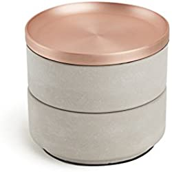Umbra Tesora Jewelry Box, Concrete/Copper
