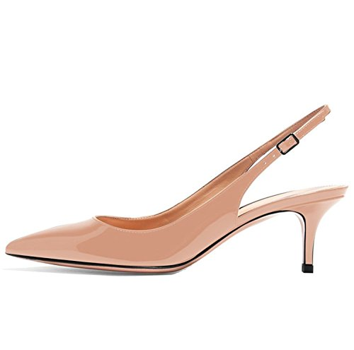 Kmeioo Kitten Heels Pumps, Pointed Toe Slingback Sandals Ankle Strap Low Heel Pumps Evening Party Wedding Shoes 6.5CM-Nude-(US 9M)
