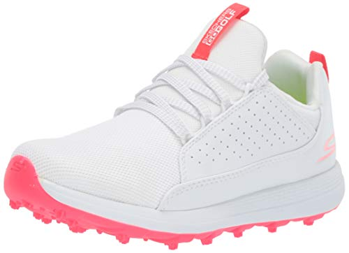 Skechers Girls' Max Mojo Spikeless Golf Shoe, White/Pink, 3 M US Big Kid