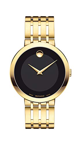 Movado Men's Esperanza Yellow Gold Watch with a Concave Dot Museum Dial, Gold/Black (Model 607059) ()