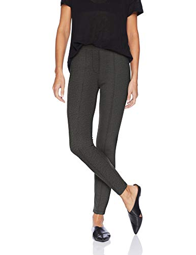 (Daily Ritual Women's Faux 5-Pocket Ponte Knit Legging, Black/White Herringbone, Small)