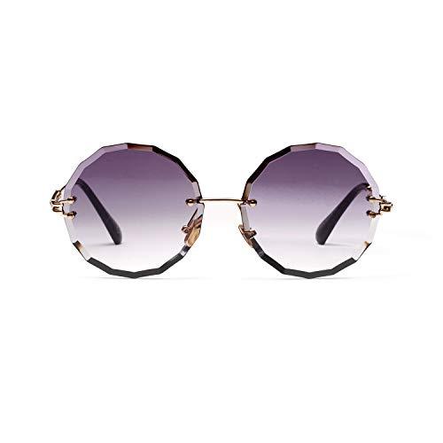 Women's Oversized Sunglasses, 2019 New EXEcharge Rimless Oversized Round Diamond Cutting Gradient Transparent Lens Sunglasses A18905 (Gray)