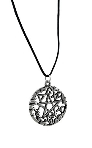 Metal Womens Pendant Necklaces Silver Finished Magical Symbol Pentacle Pendant W/Cord Necklace Silver