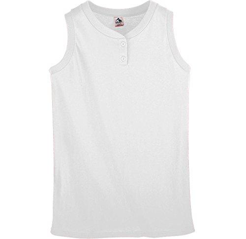 Augusta Sportswear Ladies Sleeveless Two Button Softball Jersey XL White