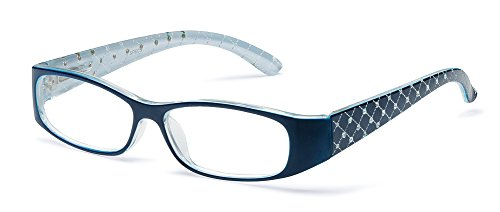 Specs Fashionable Blue Reading Glasses Clear Vision, Sturdy, Comfortable, Attractive Design, Sparkling Crystals on Temples - Temples On Glasses