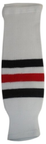 fan products of DoGree Hockey Chicago Blackhawks Knit Hockey Socks, White/Black/Red, Intermediate/28-Inch