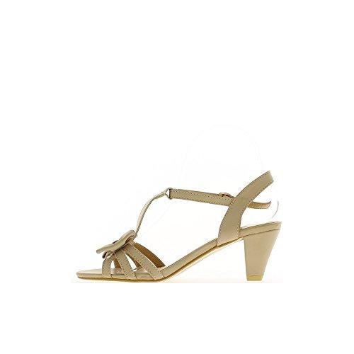 Sandales beige à talon de 7cm