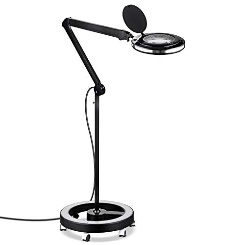 Brightech LightView Pro LED Magnifying Glass Floor Lamp - 6 Wheel Rolling Base Reading Magnifier Light with Gooseneck - for Professional Tasks and Crafts - ()