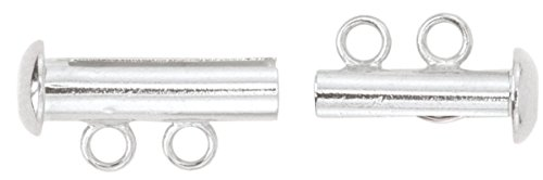 Silver Slide Jewelry Set (Artistic Wire 2-Strand Silver Plated Slide Clasp for Jewelry, Set of 2)