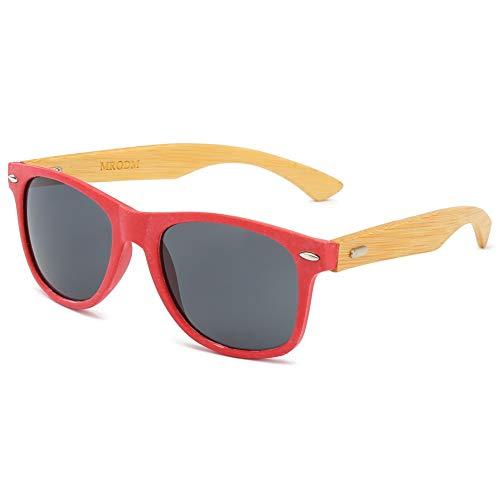 MRODM Bamboo Wood Sunglasses Biodegradable Frame for Men Women UV400 52mm -