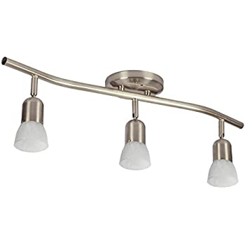 3 Light Track Lighting Wall And Ceiling Light Fixture Adjustable Interior,  Brushed Nickel