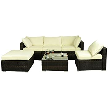 Outsunny 6 Piece Outdoor Patio PE Rattan Wicker Sofa Sectional Furniture Set Deluxe  sc 1 st  Amazon.com : sectional furniture cheap - Sectionals, Sofas & Couches