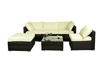 outsunny 6 piece outdoor patio pe rattan wicker sofa sectional furniture set deluxe