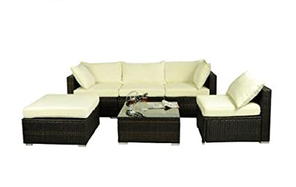 patio couch set. Outsunny 6 Piece Outdoor Patio PE Rattan Wicker Sofa Sectional Furniture Set, Deluxe Couch Set