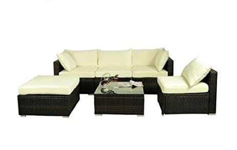 Amazon Outsunny 6 Piece Outdoor Patio PE Rattan Wicker Sofa