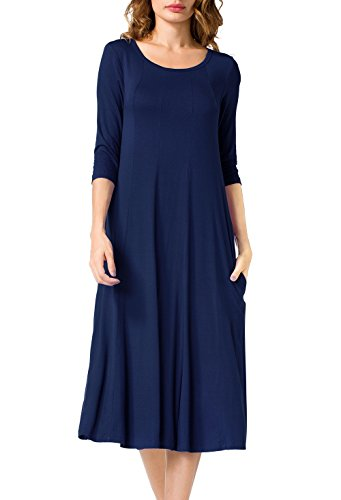 Jouica Women's 3/4 Sleeve A-line Splice Casual Midi Long Dress (Navy Blue XL) (Mid Length Coat Sleeve 3/4)