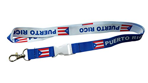 PUERTO RICO Flag Reversible Lanyard Keychain with Quick Release Snap Buckle and Metal Clasp - ID Lanyard for Keys, Badges, USB, Whistle - ID Holder Keychain for Women, Men, Kids (Blue/White) 1-Pack