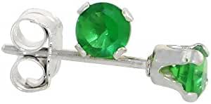 Sterling Silver Brilliant Cut Cubic Zirconia Stud Earrings 3 mm Emerald Green Color 1/4 cttw