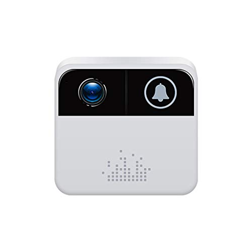 Doorbell Wireless Doorbell Battery Operated Wi-Fi Enabled Smart Video Camera Wireless Doorbell Button Chime Waterproof Door Bell Chime Kit with LED Flash Easy Setup in Home and Office Security (White)
